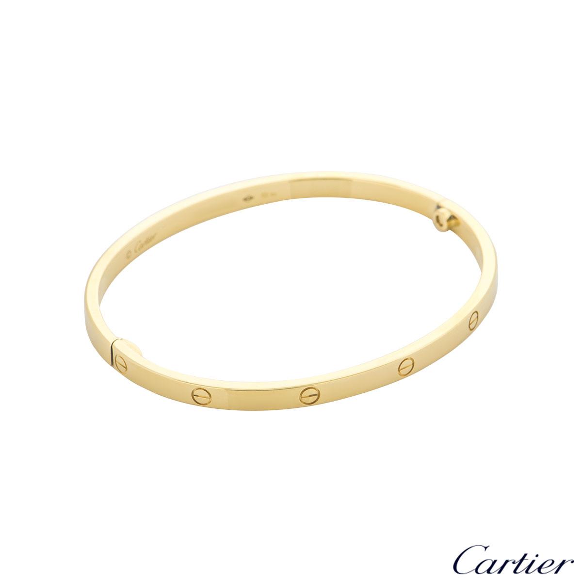 Cartier Yellow Gold Plain Love Bracelet SM Size 16 B6047516